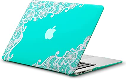 Kuzy MacBook Air 13 inch Case A1466 A1369 Soft Touch Cover for Older Version 2017 Lace Raspberry 2016 2015 Hard Shell