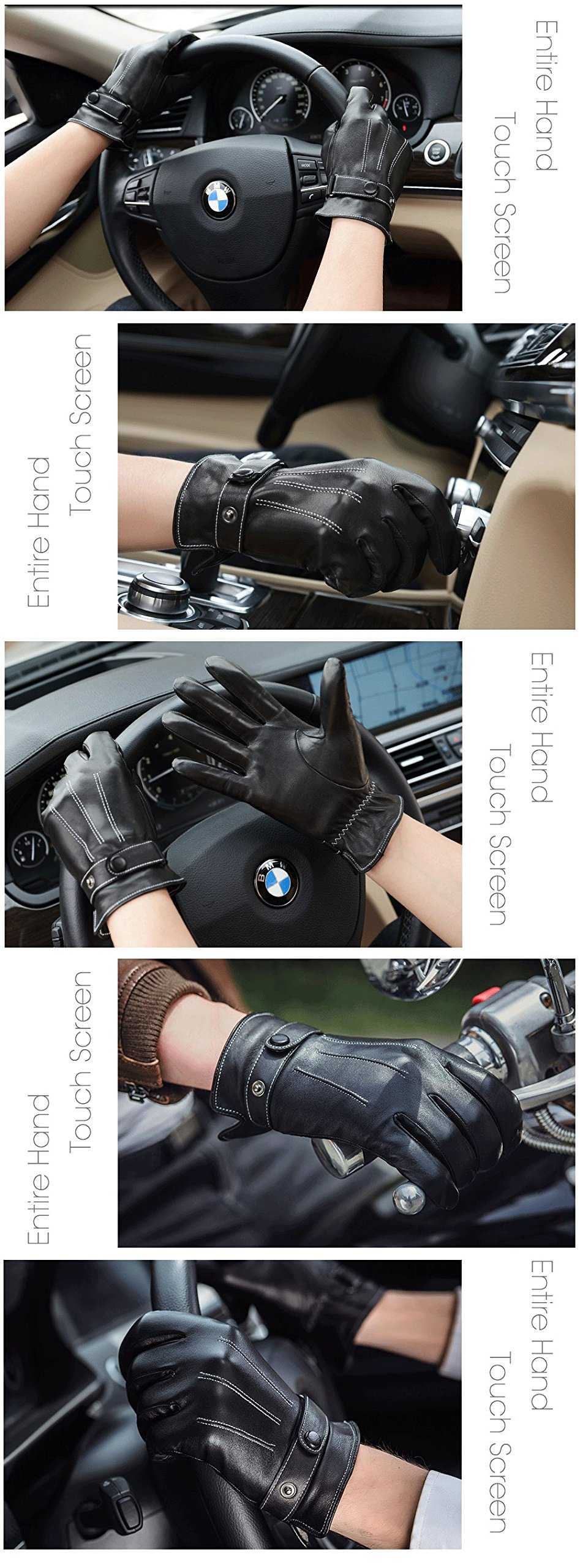 Harrms Best Luxury Touchscreen Italian Nappa Leather Gloves for men's Texting Driving (XL-9.4''(US Standard Size), BLACK) by Harrms (Image #4)