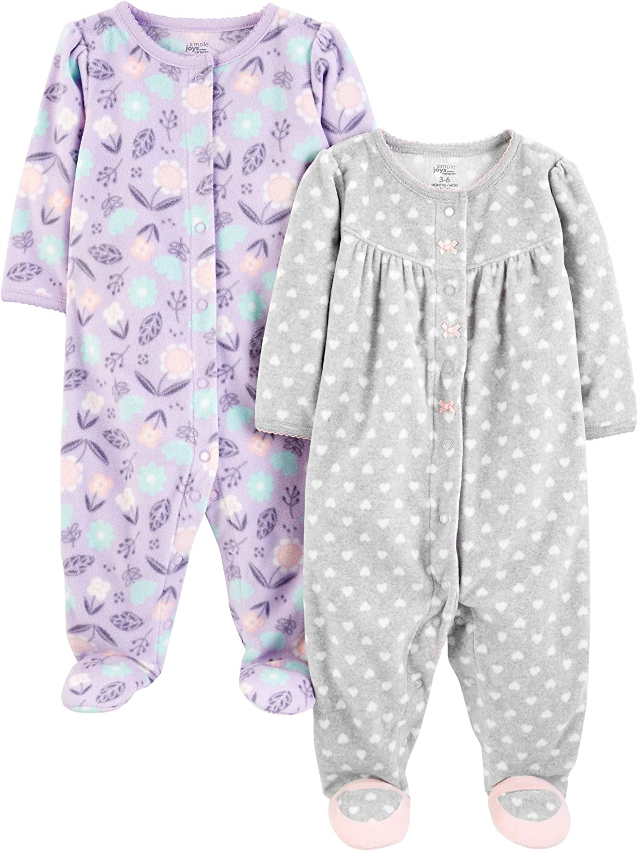 Simple Joys By Carter/'s Baby Girl/'s 2Pk Fleece Sleep /& Play Kitty//Giraffe 3-6M