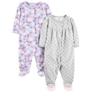 Simple Joys by Carter's Girls' 2-Pack Fleece Footed Sleep and Play, Purple/Flowers/Gray Dot, Preemie