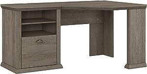 Bush Furniture Yorktown Corner Desk with Storage, 60W, Restored Gray