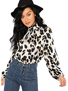 0bb84d30ec6269 SheIn Women s Choker Neck Long Sleeve Sheer Leopard Print Chiffon ...