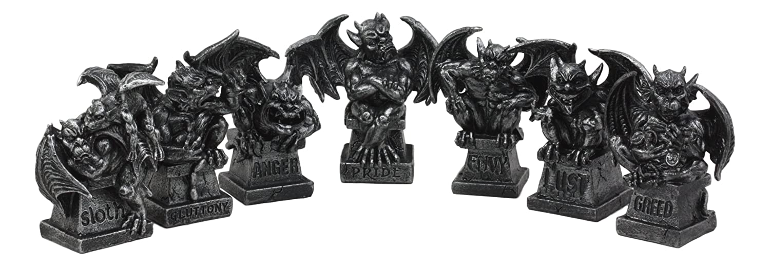 Ebros Allegorical Seven Deadly Sins Gargoyle Figurine Set of 7 Cardinal Sins Pride Sloth Gluttony Envy Greed Anger And Lust Gargoyles Sculptural Decor