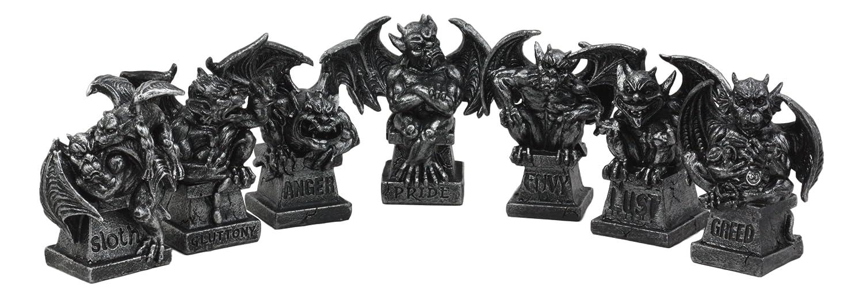Ebros Allegorical Seven Deadly Sins Gargoyle Figurine Set of 7 Cardinal Sins Pride Sloth Gluttony Envy Greed Anger And Lust Gargoyles Sculptural Decor