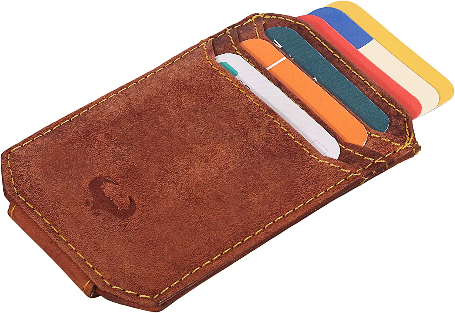 Front Pocket Wallet Real Leather Money Clip Crimson Red RFID Slim Credit Card Sleeve