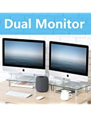 FITUEYES Monitor Stand Dual Screen Riser Desk for Computer Laptop TV, 2 Pack with Storage Shelf DT103803GC