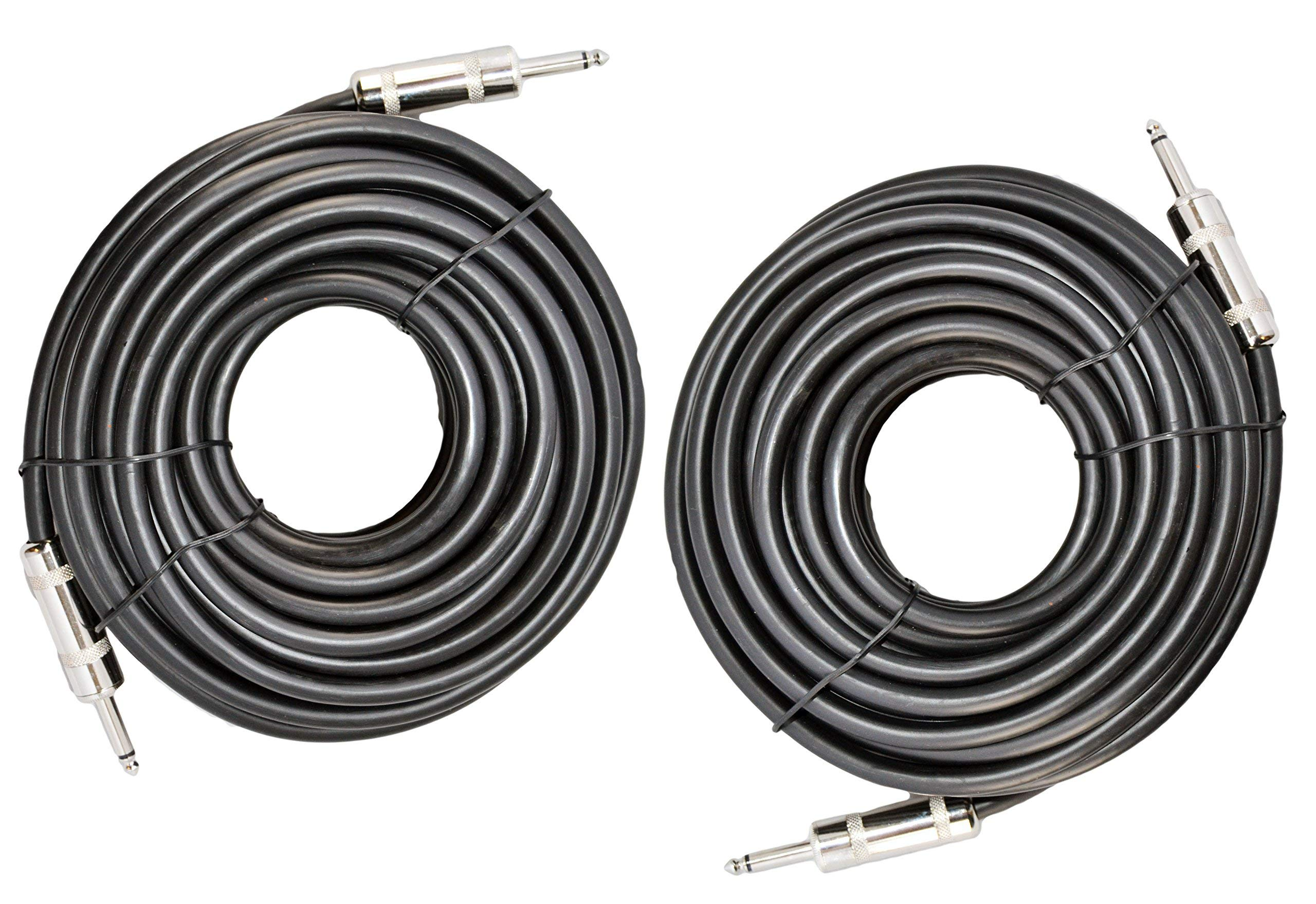Ignite Pro 2X 1/4'' to 1/4'' 50 Ft. True 12 Gauge Wire AWG DJ/Pro Audio Speaker Cable, Pair by Ignite