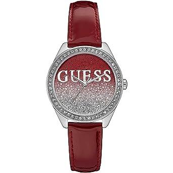 Girl 36mm Guess Armband Glitter Leder Batterie Lila Damen Armbanduhr N8mnyOv0w