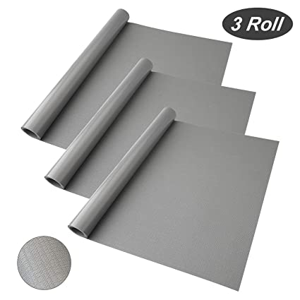VOIMAKAS Shelf Liner 3 Rolls Multifunctional EVA Drawer Liner Non Adhesive Shelf Pads For Kitchen Cabinets Non Slip Fridge Liners Shelf Mats 59 X