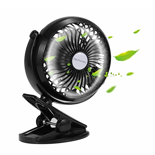 Elechomes EH101 Rechargeable Operated Clip on Mini Desk USB Fan