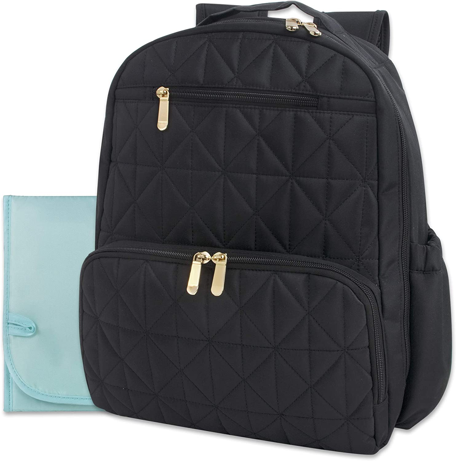 Quilted Diaper Bag Backpack with Insulated Compartment, Changing Pad – 2 Piece Set
