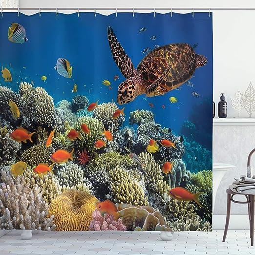 Sea Shark Shadow Shower Curtain Bath Mat Toilet Cover Rug Bathroom Decor Set