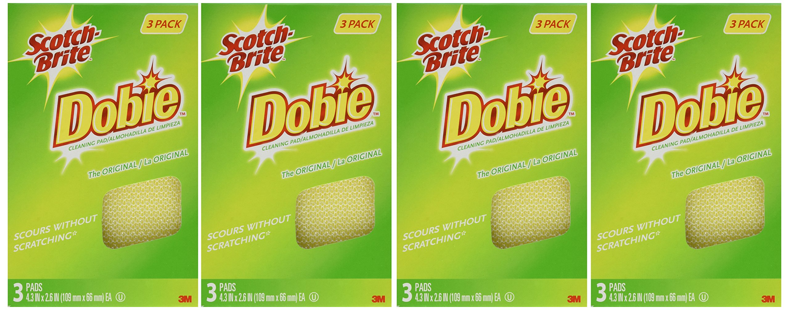 Scotch-Brite Dobie All Purpose Pads, 3-Count (Pack of 4) Total 12 Pads by 3M