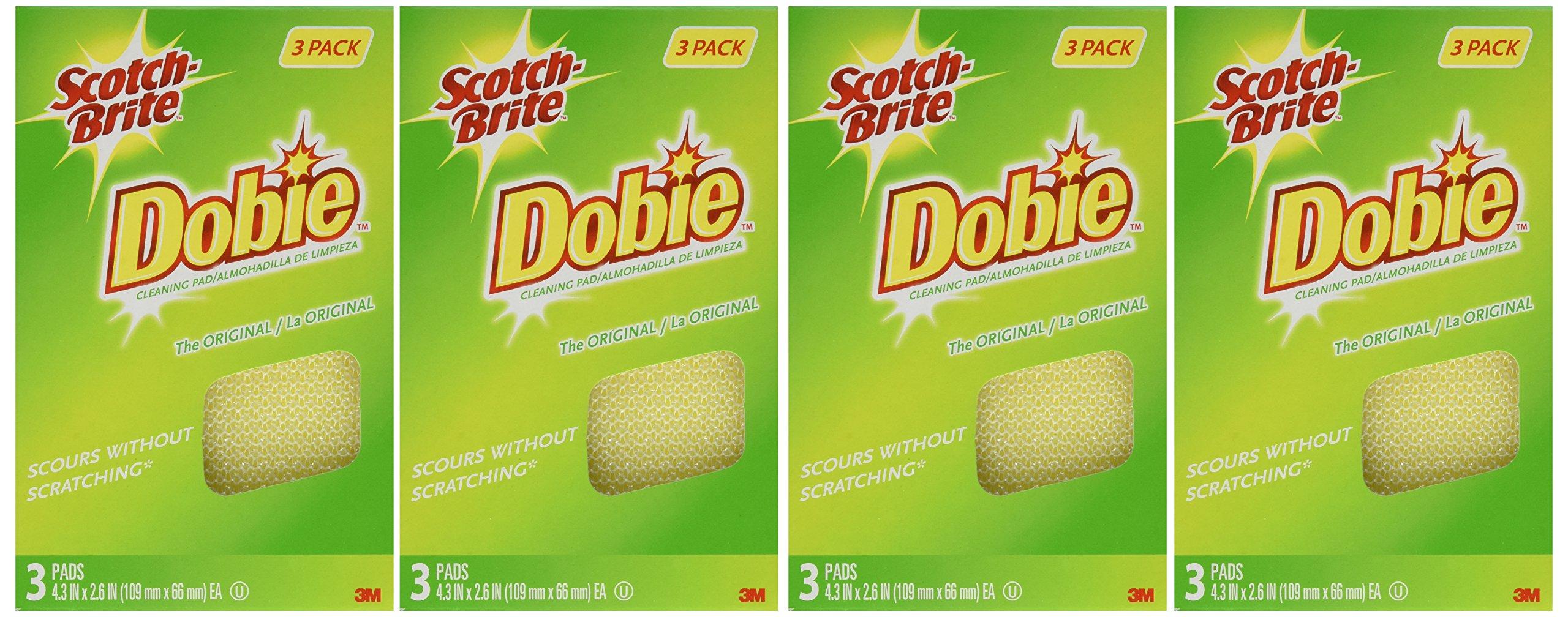 Scotch-Brite Dobie All Purpose Pads, 3-Count (Pack of 4) Total 12 Pads