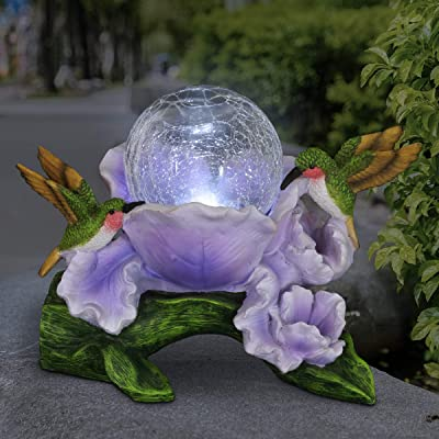 Exhart Solar Crackle Glass Orb in a Purple Blossom with Hummingbirds, 10 Inch : Garden & Outdoor
