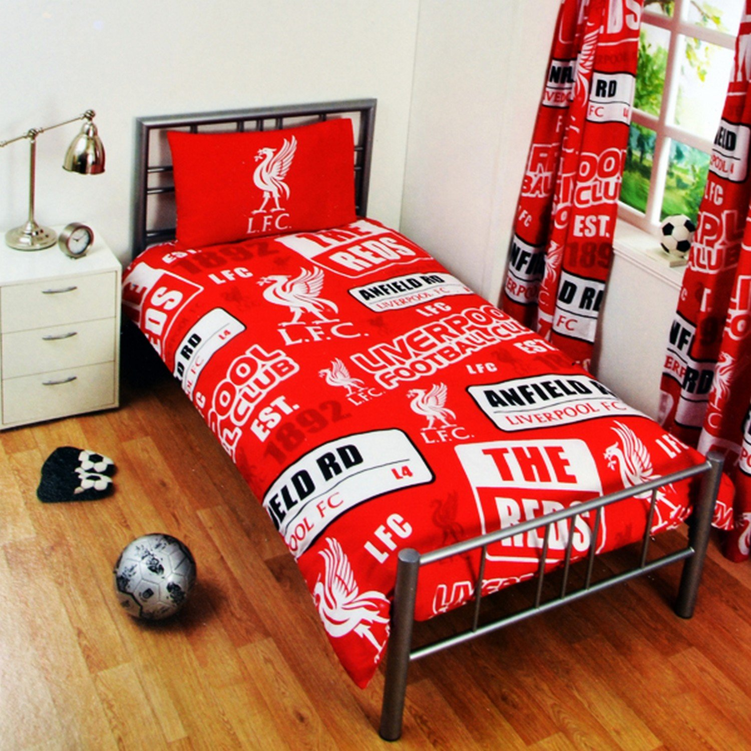 Liverpool FC Childrens/Kids Official Patch Football Crest Duvet Set (Full) (Red) UTSG3550_2