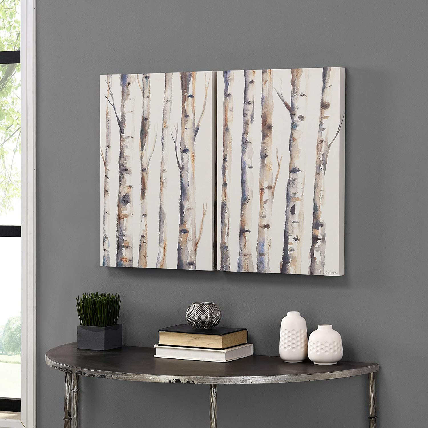 FirsTime & Co. Birch Woodland Canvas 2-Piece Set, American Crafted, Multi-Color Watercolor, 32 x 1.5 x 24 ,