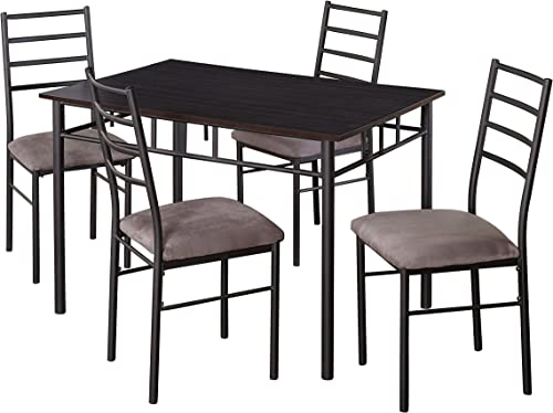 Target Marketing Systems Liv Collection Contemporary 5 Piece Metal Dining Room Table and Chairs Set