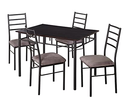Target Marketing Systems Liv Collection Contemporary 5 Piece Metal Dining  Room Table Chairs Set 1 Table