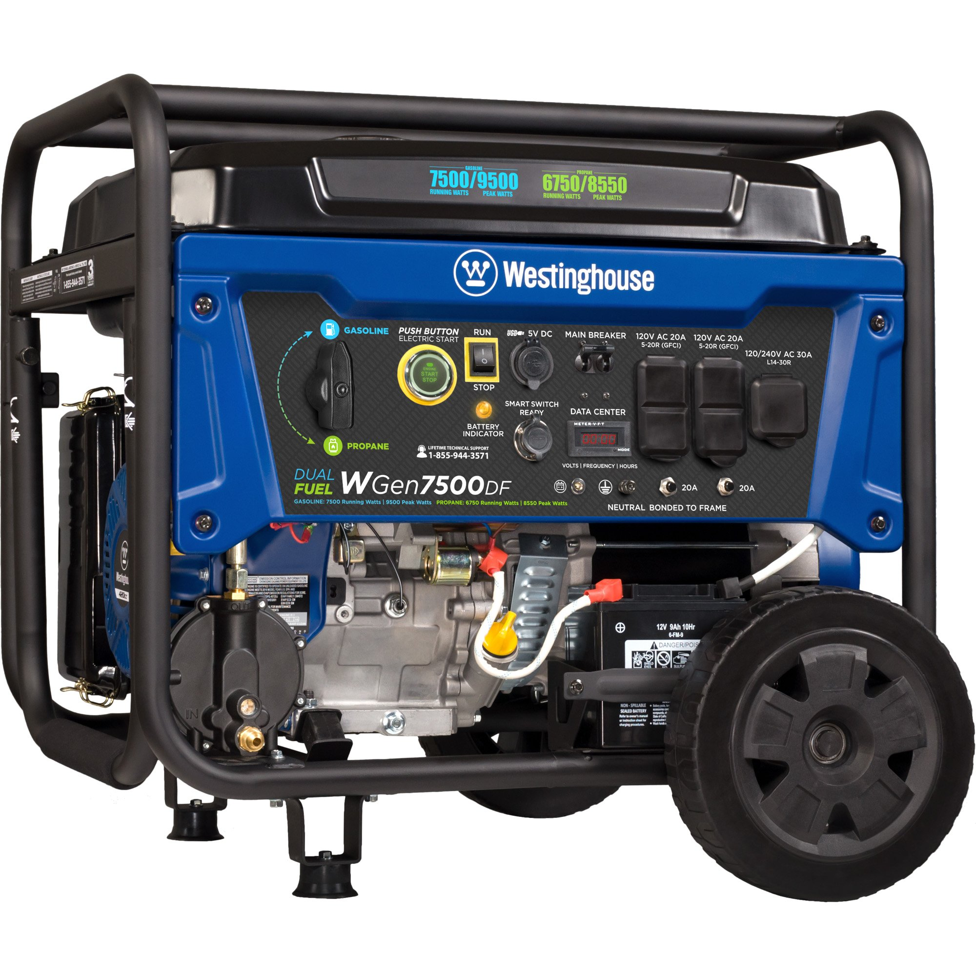 Westinghouse WGen7500DF Dual Fuel Portable Generator – 7500 Rated Watts & 9500 Peak Watts – Gas Or Propane Powered – CARB Compliant