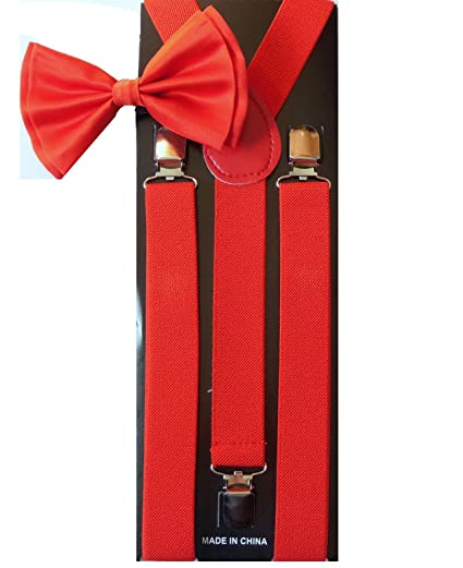 cd0d07852054 Image Unavailable. Image not available for. Color: Men's Unisex Awesome RED  Suspenders And Matching Bowtie Set - Adjustable