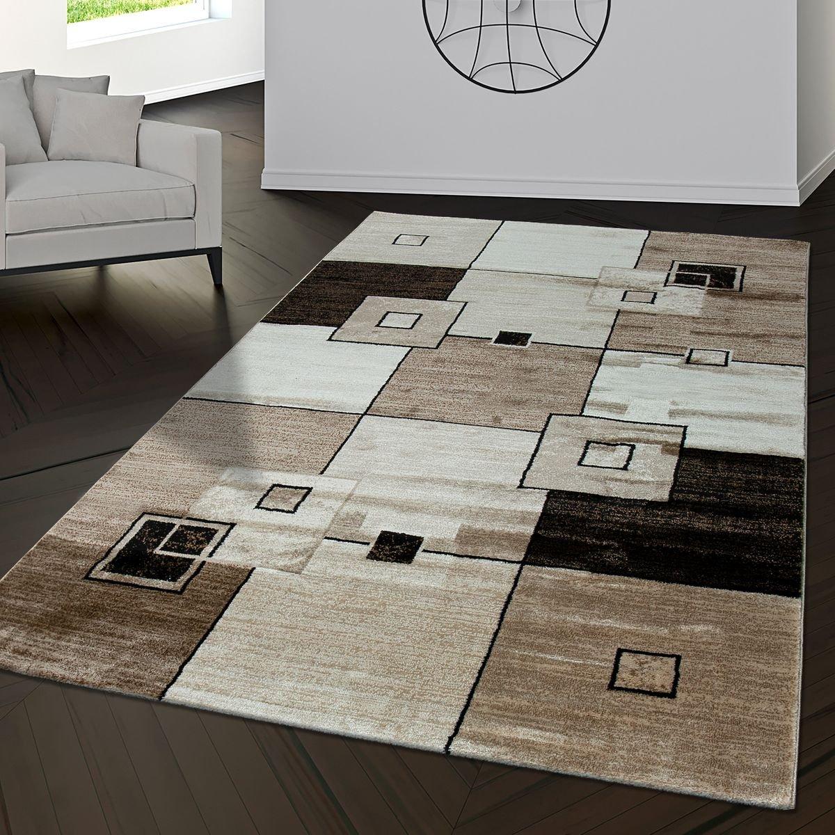 T&T Design Teppich Pisa Muster Rechtecke Kariert Wohnzimmerteppich Braun Beige Creme, Größe 160x230 cm