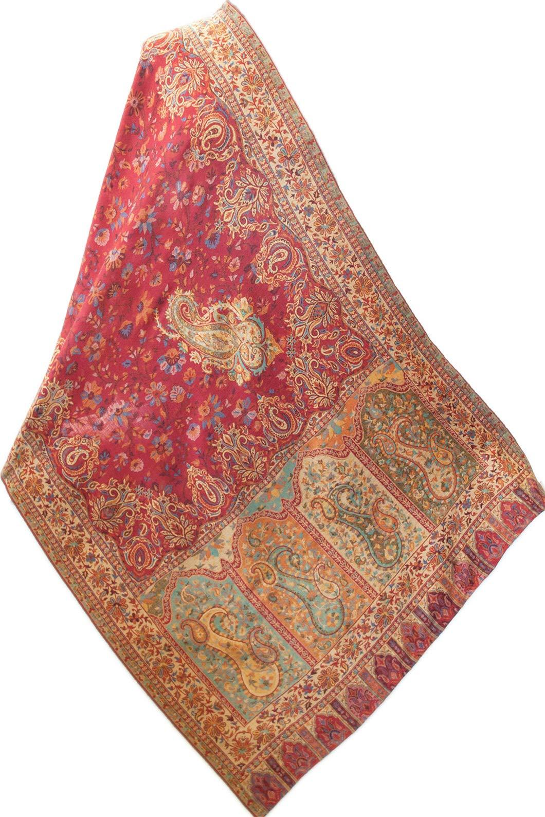 Red Wool Jamavar Floral Paisley Shawl Hand-Cut Kani Gold Pashmina 80'' x 28''