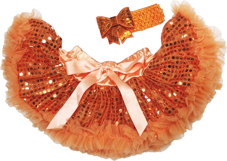 Christmas Dress Orange Sequin Baby Skirt Pettiskirt Tutu Headband Set 3-12m