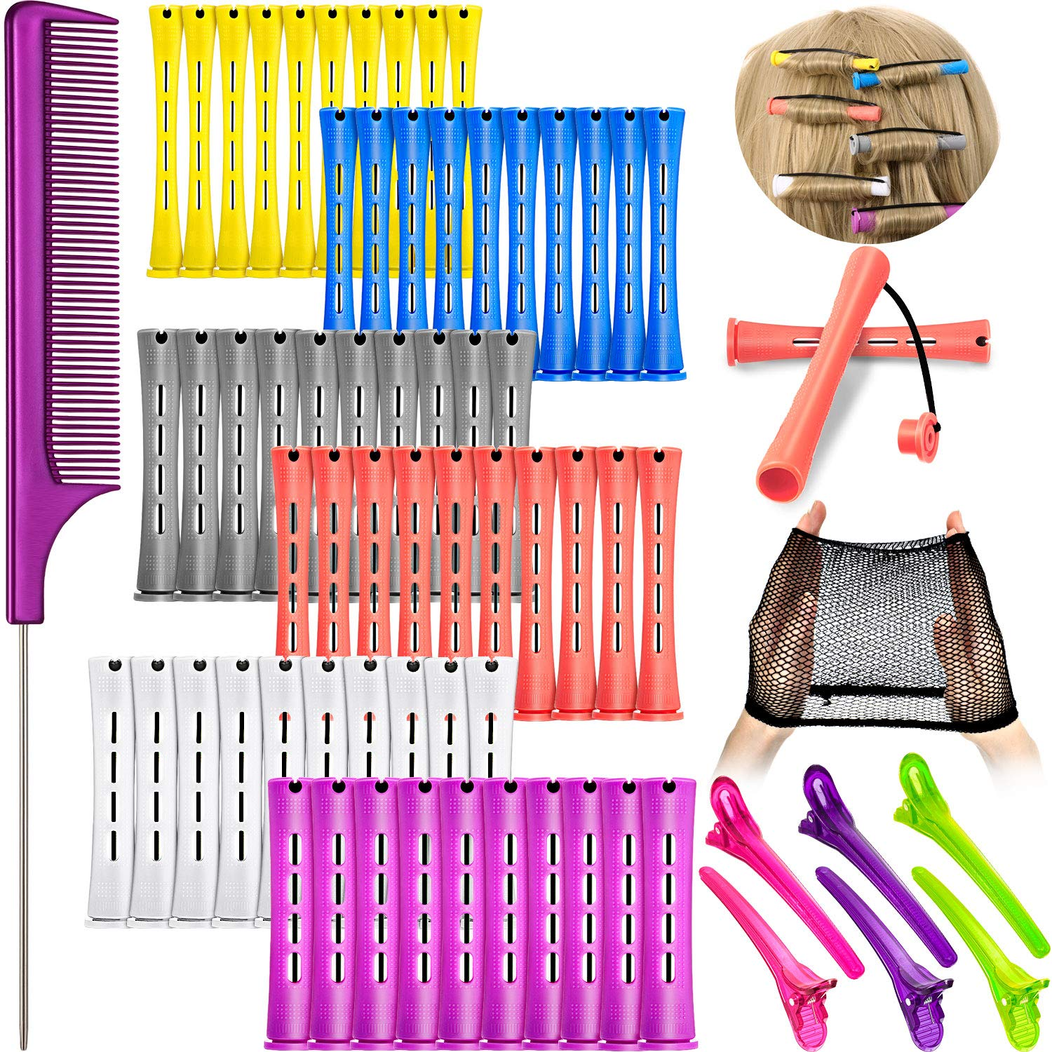 72 Pieces Hair Perm Rods Set Plastic Perming Rods Cold Wave Rods 6 Sizes Hair Curling Rollers with Steel Rat Tail Comb, Wig Cap, 6 Pieces Duck Teeth Hair Clips for Hairdressing Hair Styling
