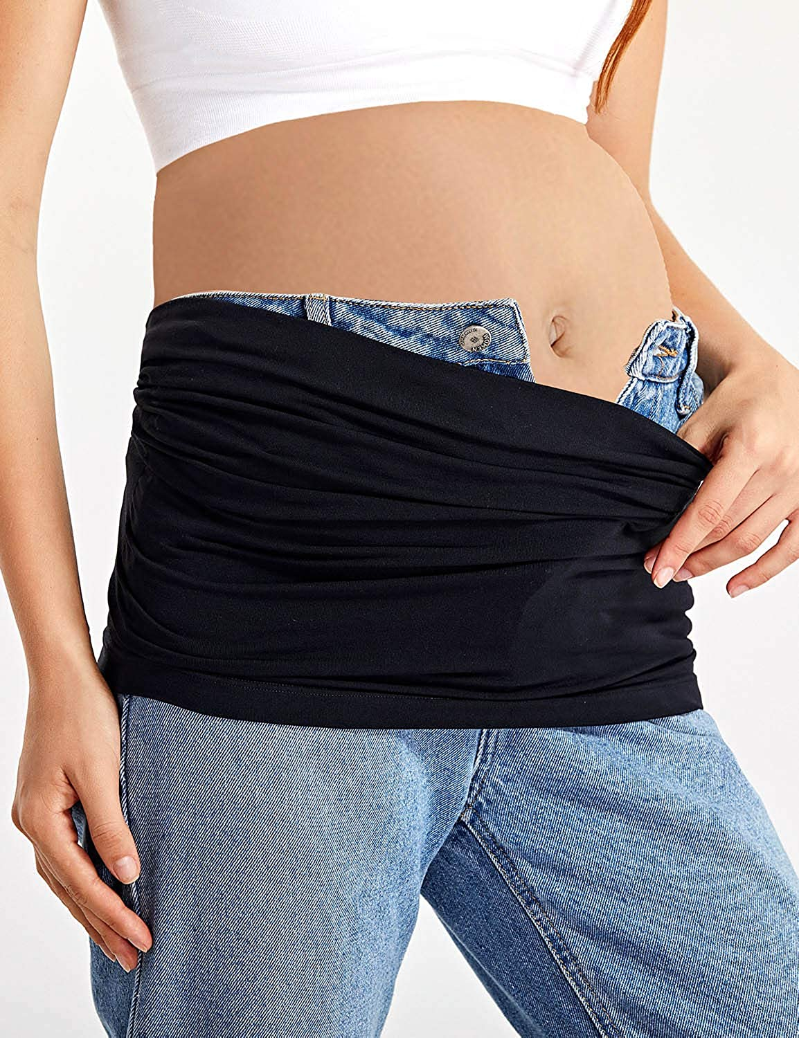 Gratlin Womens Maternity Seamless Pregnancy Belly Band with Waist Extenders