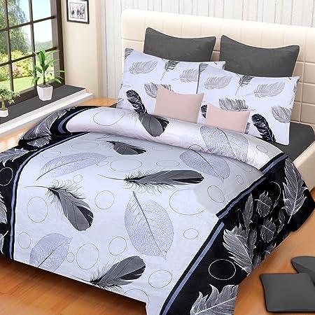 DAILZ Dynamic Print 120 TC Cotton Double Bedsheet with 2 Pillow Covers - Floral, Multicolour