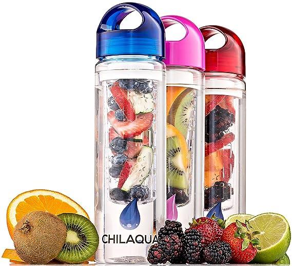 #1 Botella con Infusor de Esencia de Fruta + Botella Infusora Zumo de Frutas y Verduras Plástico + Bola de silicona para hacer Hielo - La Mejor Infusor de ...