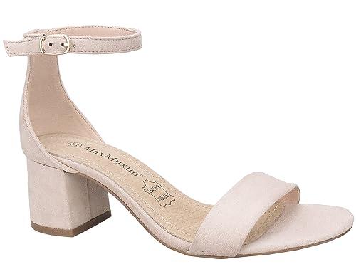 venta caliente online eabb6 74cd6 MaxMuxun Zapatos de Tacón Bajo Cuadrado Clásico con Cordones y Hebillas  para Mujer