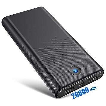 Ekrist Batería Externa, 26800mAh Alta Capacidad Power Bank【Diseño Antideslizante】 Cargador Portátil Móvil con 2 Puertos USB y Luces LED, Universal ...