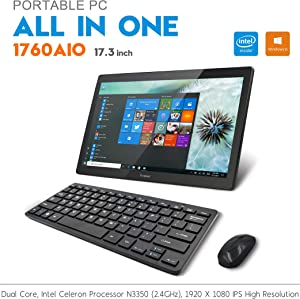 "iView 1760AIO64 PRO 17.3"" All in One Computer IPS 1920 x 1080 Touch Screen, Intel Celeron, 4GB RAM (Expandable Notebook Drive), WiFi 2.4/5GHz, Front Camera, Wireless Keyboard & Mouse (Win 10 Pro)"