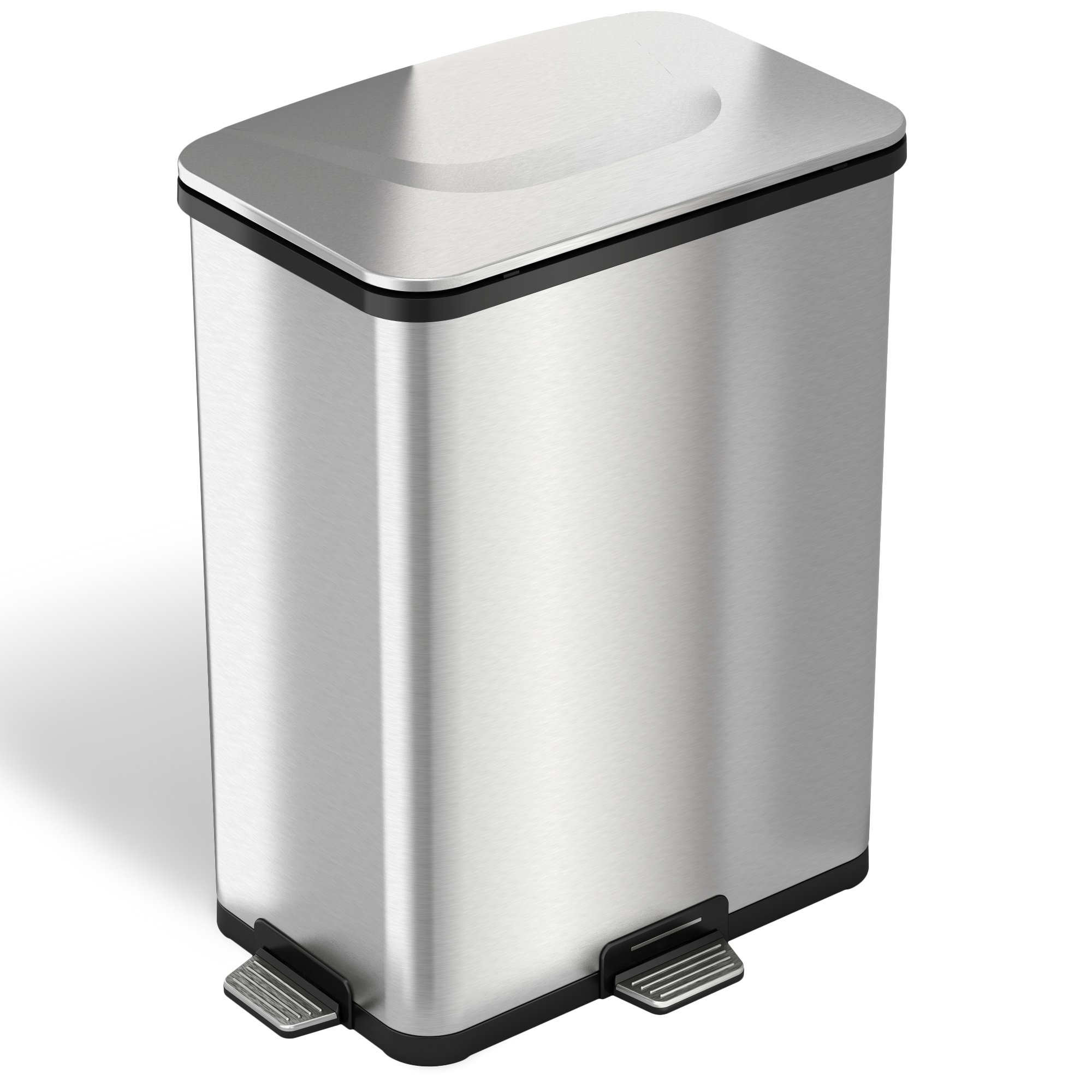iTouchless AutoStep PRO Automatic Step Trash Can with Odor Control System, Stainless Steel (Base Model – No AC Adapter), 13 Gallon