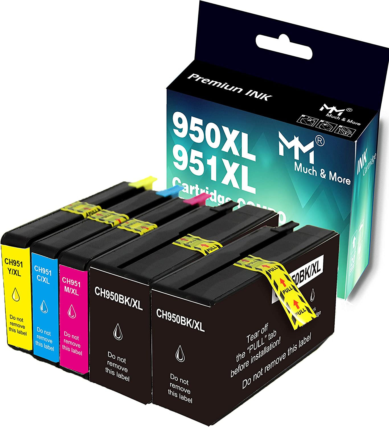 MM MUCH & MORE Compatible Ink Cartridge Replacement for HP 950XL 951XL 950 XL 951 XL to use for OfficeJet Pro 8630 8640 8610 8620 276dw 251dw Printer (5-Pack, 2 x Black, Cyan, Magenta, Yellow)