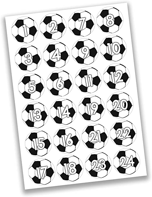 Papierdrachen 24 Pegatinas de números para Calendario de Adviento ...