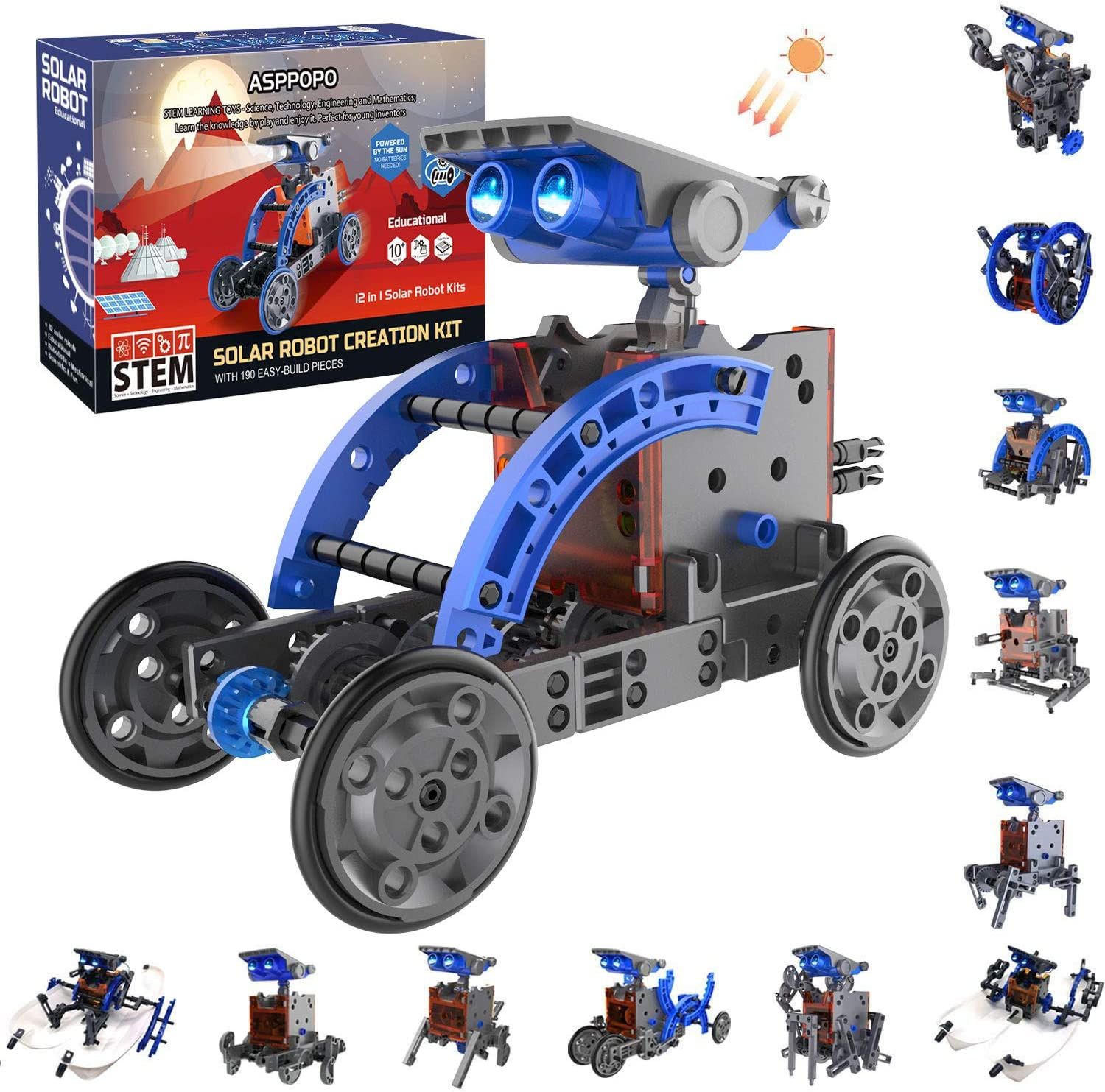 ASPPOPO STEM Solar Robot Kit 12 in 1 Educational Learning Science Building Toys for Kids Age 8+ Years Old Boys and Girls