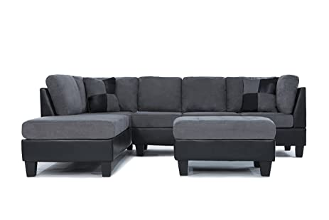 Charmant Case Andrea Milano 3 Piece Microfiber Faux Leather Sectional Sofa With  Ottoman, Grey