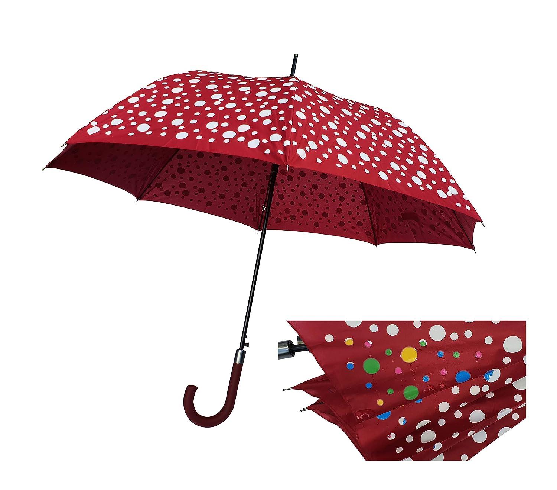 Paraguas Cambia Color 120 cm Antiviento Apertura automática Mujer ...