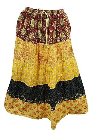 dc2045f087 Mogul Interior Womens Bohemian Skirt Yellow Printed Tiered Gypsy Long Skirts:  Amazon.co.uk: Clothing