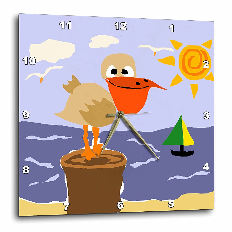 15 by 15-Inch Wall Clock DPP/_196062/_3 3dRose Funny Pelican at The Beach Art