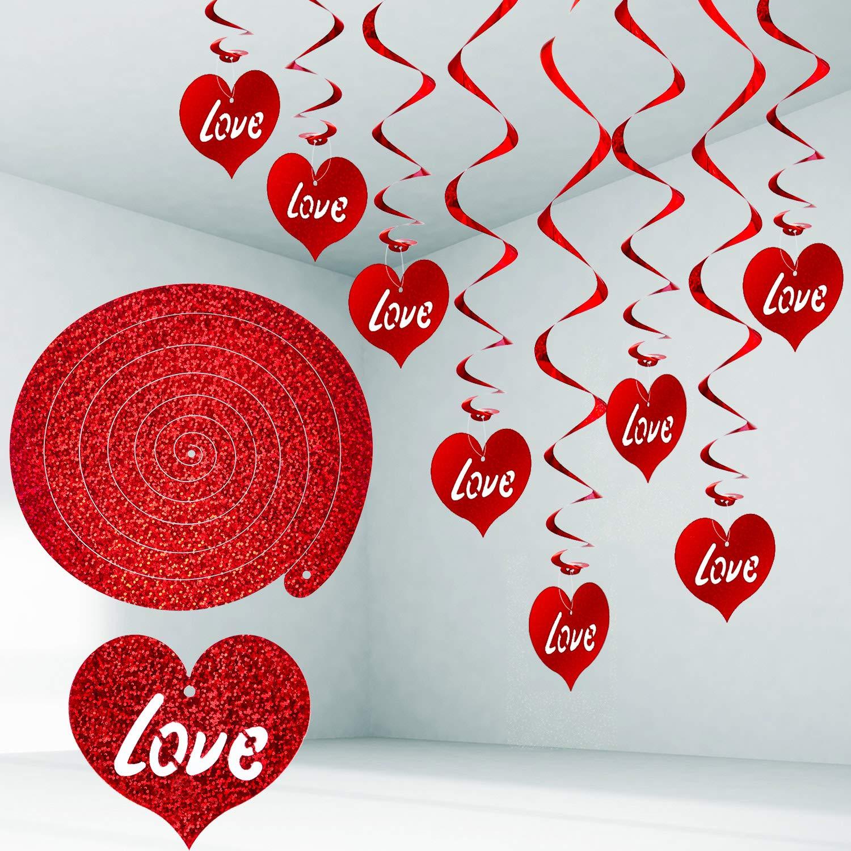 Rojo, 96 Piezas Espirales Colgantes de Coraz/ón Decoraciones de D/ía de San Valent/ín Remolino Decorativo para Techo de Fiesta de Hogar Materiales Favores de Fiesta de San Valent/ín