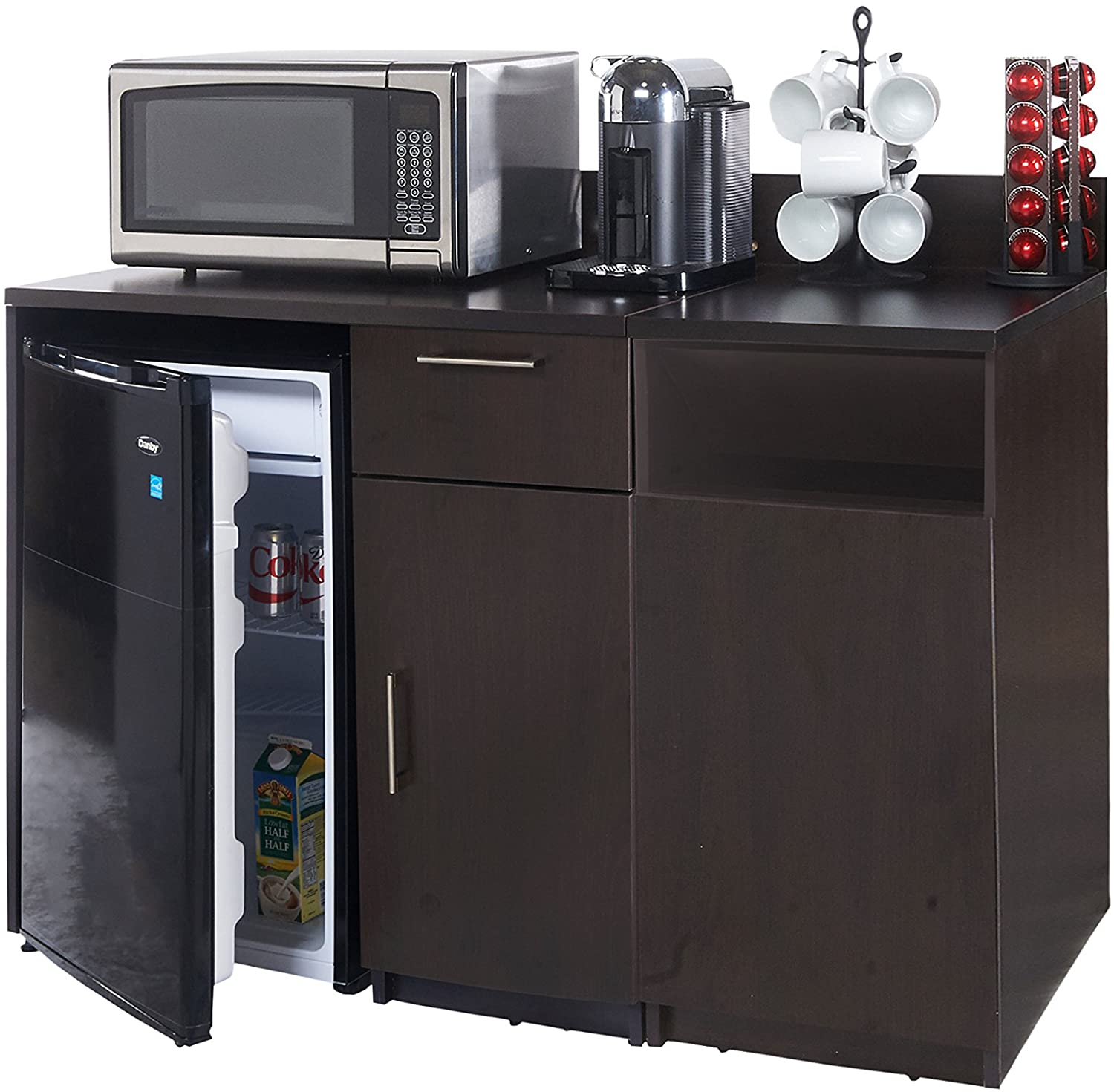 Breaktime 2 Piece 3267 Coffee Kitchen Lunch Break Room Furniture Cabinets Fully Assembled Ready to Use, Instantly Create Your New Break Room, Espresso