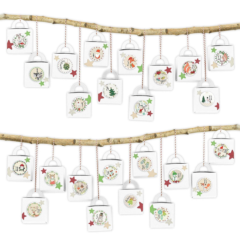 Motivo Cajas Blancas con dise/ños en Blanco y Negro Papierdrachen 24 cajitas de Calendario de Adviento con Asas para Rellenar Navidad 2018