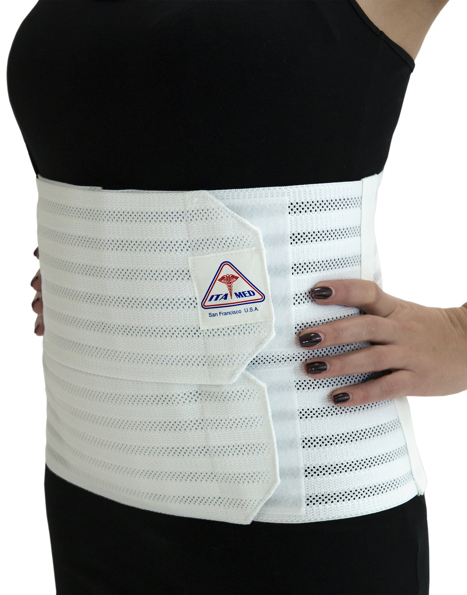 Ita-med Breathable Elastic Abdominal Binder for Women, White, XL