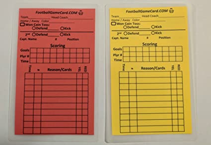 Soccer Referee Penalty Cards Score Card