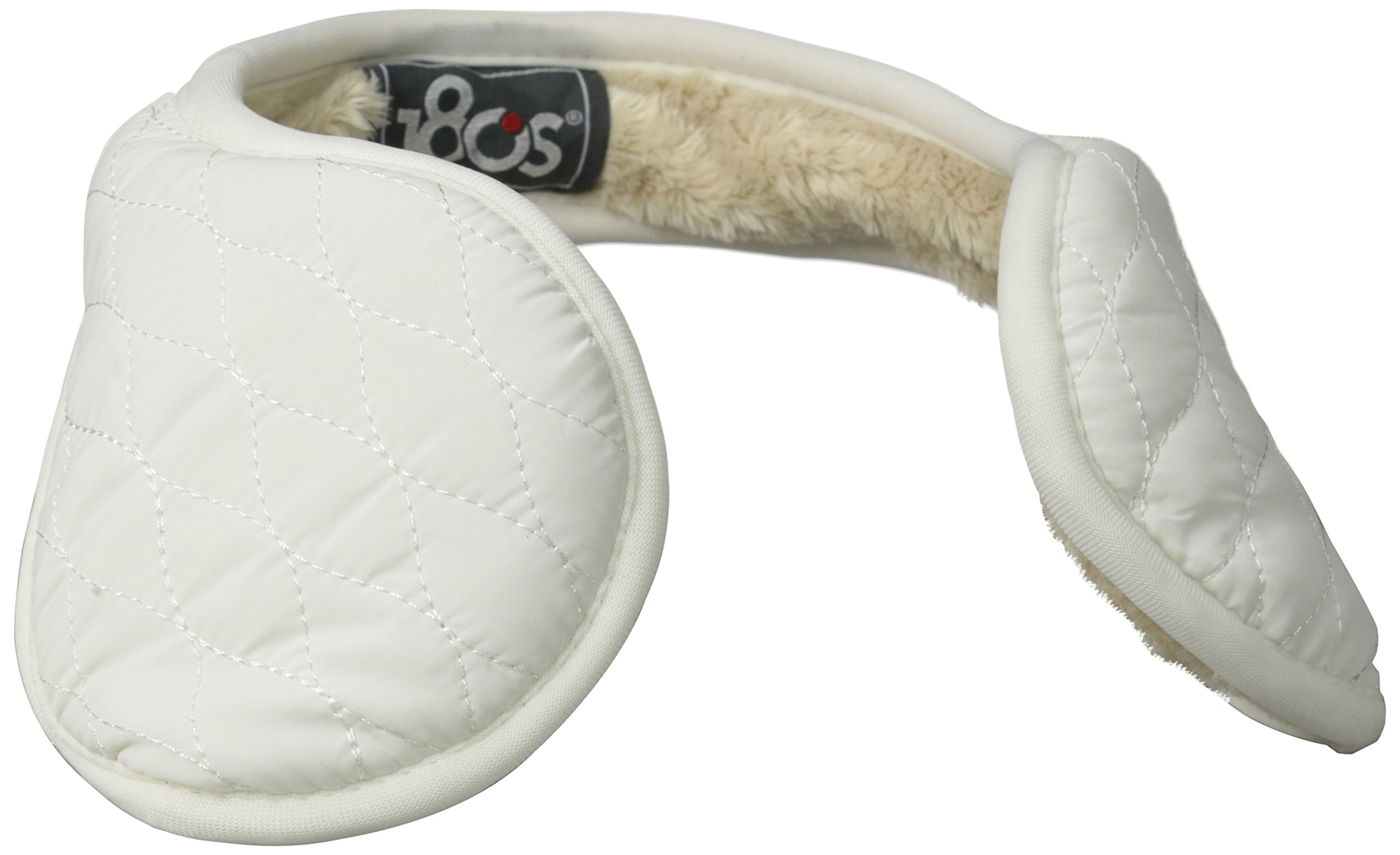 180s Women's Keystone Quilted Behind The Head Ear Warmers with Faux Fur Liner, Snow, One Size