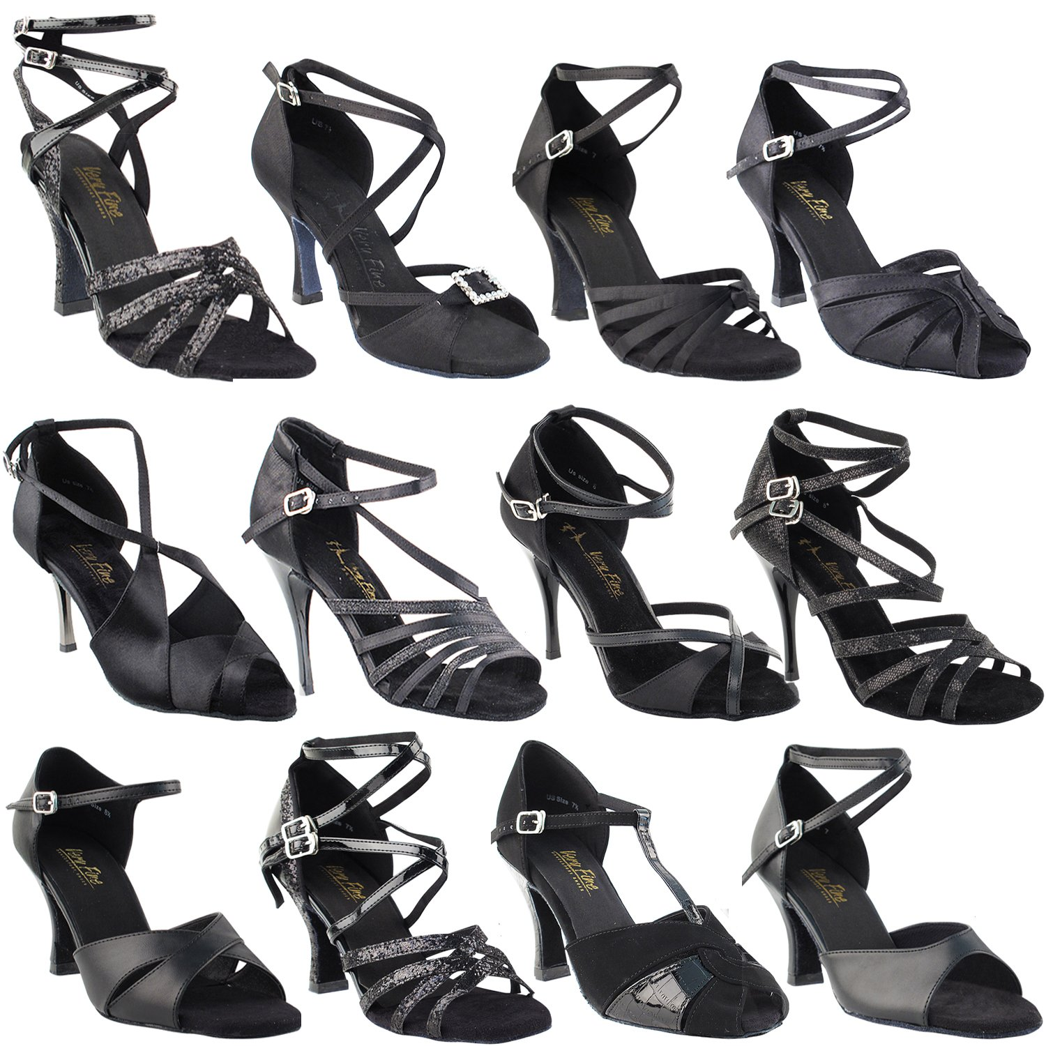 Gold Pigeon Shoes 50 Shades of Black: 5009, Black Sparkle, 3'' High Heel, Size 9